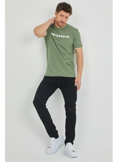 XHAN Vizon Kabartma Baskılı T-Shirt 1Kxe1-44622-29 Yeşil